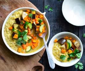 Dahl indien et curry de légumes