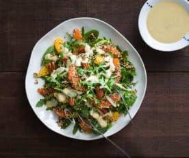 Citrus quinoa salad with miso ginger dressing