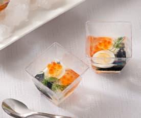 Áspic de huevos de codorniz con huevas de mújol y salmón