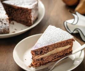Torta soffice al cioccolato e pere