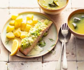 Zupa z cukinią; Ryba na parze z ziemniakami i cytrynowym sosem