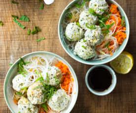 Boulettes de poulet thaï, vermicelles de riz