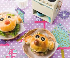 Pãezinhos palhaço com hambúrguer