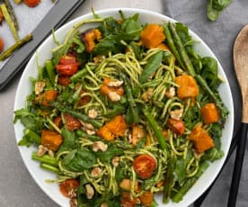 Pesto spaghetti with roast pumpkin