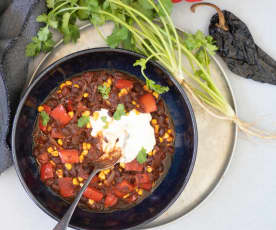 Ancho chilli and black bean stew