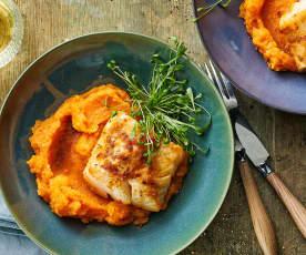 Merluzzo con purea di patate dolci e sedano