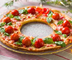 Corona de coliflor y almendra con cherrys, mozzarella, beicon y albahaca