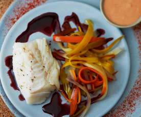 Menu light - Cabillaud au vin rouge et tagliatelle de carottes