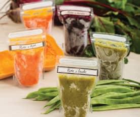 Purée z warzyw gotowanych na parze do zamrożenia (dla dzieci)