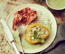 Gefüllte Paprika mit Putenschnitzel und Reis