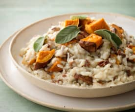 Sweet Potato, Pecan and Blue Cheese Risotto