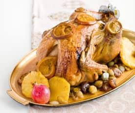 Peru de natal recheado com carne