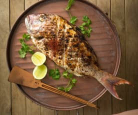 Fragrant whole barbecued fish
