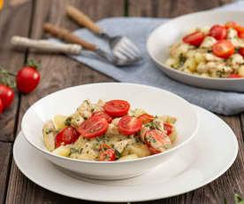 Gnocchi w sosie szpinakowym z kurczakiem