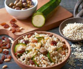 Sorgo con zucchine, uvetta e pinoli (vegan)