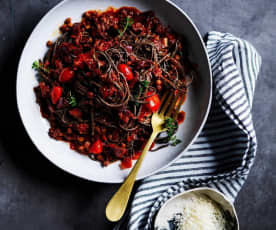 Black bean spaghetti bolognese (gut health)