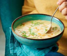 Avgolemono, soupe de poulet au riz et citron