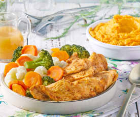 Paprika Chicken with Vegetables and Mashed Sweet Potatoes