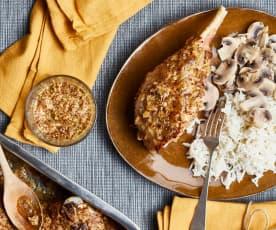 Cuisses de dinde à la moutarde, riz basmati aux champignons