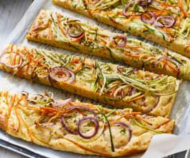 Gemüse-Schinken-Pfannkuchen vom Blech