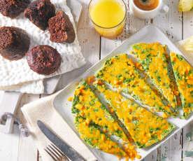Ham and Cheddar Frittata with Chocolate Zucchini Muffins