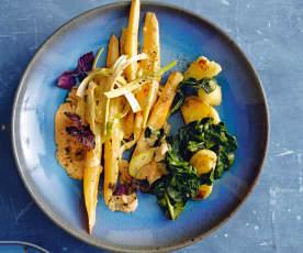 Légumes d'hiver, sauce aux épices tandoori