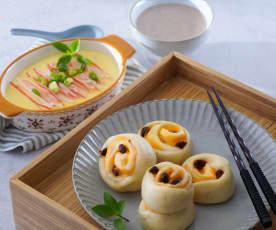 葡萄乾起司饅頭&蟹肉棒蒸蛋、珍寶米漿