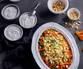 Cous cous con albicocche, nocciole, Feta e verdure; Crema alla stracciatella