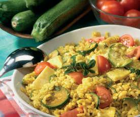 Insalata di riso, frittata e verdure