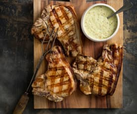 Cider-brined pork chops with apple dressing
