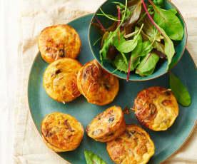 Miniquiches sans pâte, champignons, jambon et ciboulette