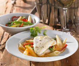 Steinbuttfilet an Asia-Gemüse mit Buttersauce und Nudeln
