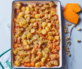 Verdure gratinate con panure di anacardi (vegan)