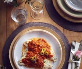 Merluzzo al vapore con salsa al pomodoro e olive