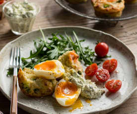 Smoked salmon muffins with steamed eggs and herbed relish