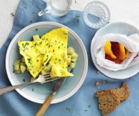 Omelette aux pommes de terre et papillote de fruit