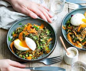 Salade tiède de lentilles, céleri, carotte et œuf