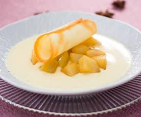 Pera al caramelo con crema y canutillo crujiente