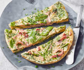 Kräuter-Schinken-Omelette mit Kaiserschoten