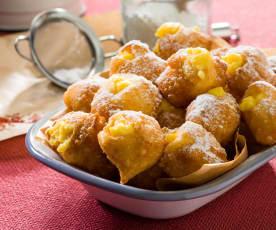 Buñuelos con crema de azafrán