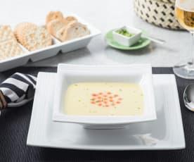 Sopa de calabaza con camarones y caviar
