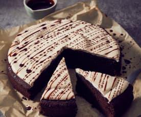 Gâteau au chocolat meringué et caramel au café