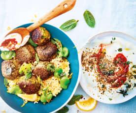 Falafels, boulgour aux fèves et yaourt au tahini