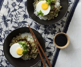 Coconut rice with Asian inspired pork and eggs