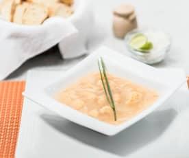 Sopa de fideos con coliflor