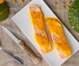 Filetti di salmone con crema di zucca