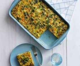 Feta, spinach and potato frittata