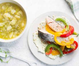 Menú: Patatas guisadas con puerros. Salmón con tres pimientos y salsa de aguacate