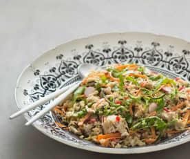 Rice salad with warm mustard dressing