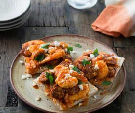 Chorizo and prawns a la Sidra